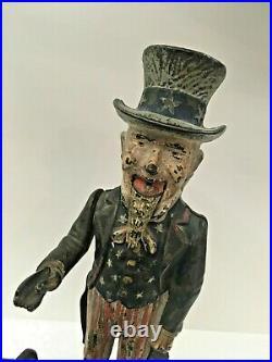 1886 Shepard Uncle Sam Antique Original Cast Iron Mechanical Bank