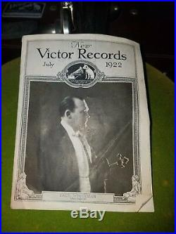 1919 Antique Victrola Victor Talking Machine Record player with full albums