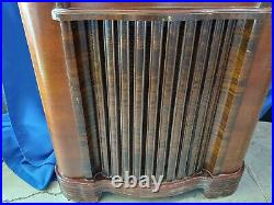 1930s-40s Zenith Short Wave Tube Floor Radio Wood Police Antique-VTG Art Deco