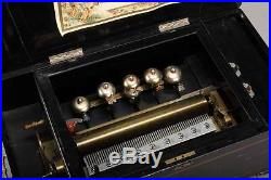 A Swiss Antique Bells in Sight Cylinder Music Box Circa 1880 Working Condition
