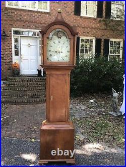 Antique 1827 Grandfather Clock Moon Dial Face Longcase British Flag 1800's Tall