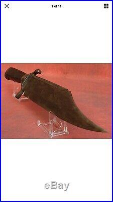 Antique 1861 McELROY MACON GA Civil War Era Bowie Knife Bone Handle LOOK