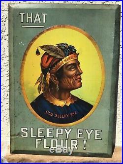 Antique 19 Old Sleepy Eye Flour Tin Sign C. 1900 Soda Farm Gas Oil