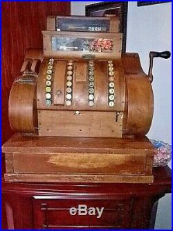 Antique 1920's Wood National Cash Register Works