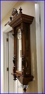 Antique 19th C. Gustav Becker Weight Driven Vienna Regulator Wall Clock Germany