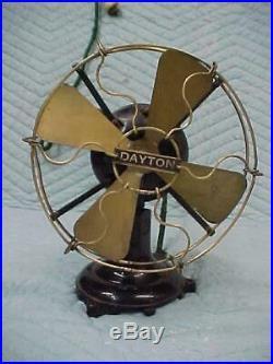 Antique 8 Dayton Brass Cage (Guard) Desk Fan