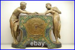 Antique Art Nouveau Deco Goldscheider French Austrian Old Terracota Mantel Clock