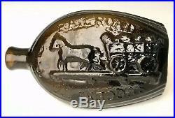 Antique Bottle 1830s Railroad Success Horse Cart GV-5 Pint Pictorial Flask, NR