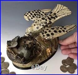 Antique Cast Iron Mechanical Penny Bank Eagle & Eaglets, J&E Stevens, Patd 1883