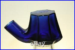 Antique Cobalt Blue Tea Kettle Ink Well Bottle
