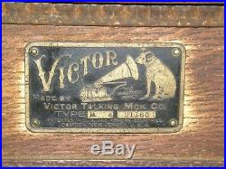 Antique Early Victor Victrola Type M Phonograph Talking Machine Front Mount Horn
