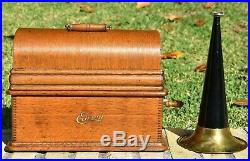 Antique Edison Phonograph Player Model B Oak Case Cover Horn H228019