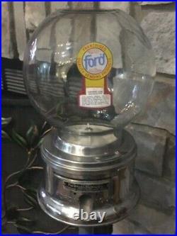 Antique Ford Gum Gumball Machine Glass Globe with Original Rare Stand Lock & key
