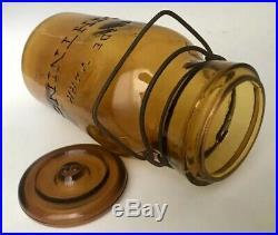 Antique Fruit Jar 1880s Trademark Lightning Crude Light Amber Putnam 403 Quart