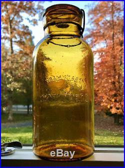 Antique Fruit Jar Trademark Lightning Crude Amber Half-Gallon with Lid, Putnam 69
