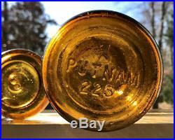 Antique Fruit Jar Trademark Lightning Crude Yellow Amber Putnam 225 Quart + Lid