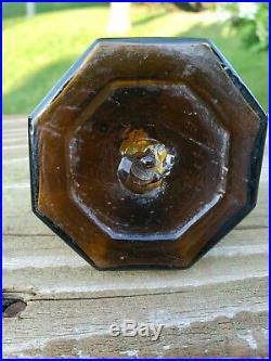 Antique GOLDEN AMBER pre 1900 bottle ink UMBRELLA