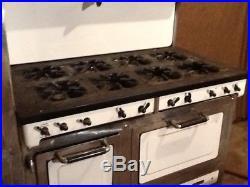Antique Gas Magic Chef 6300 Porcelain 8 Burner & 2 Oven Left Stack Stove