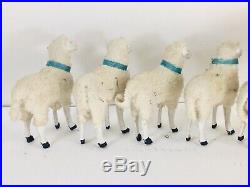 Antique German Boxed Set of Putz 10 Stick-Leg Sheep / Large Ram / Sheppard Boy