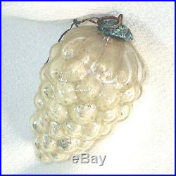 Antique German Silver Grapes Kugel Christmas Ornament