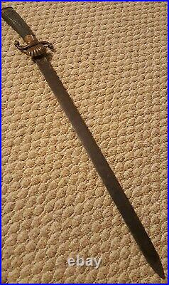 Antique German WWI Hunting Cutlass Forestry Sword Stag Horn Handle, Brass Acorns