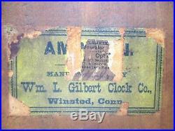 Antique Gilbert Amphion Oak Mantle Clock
