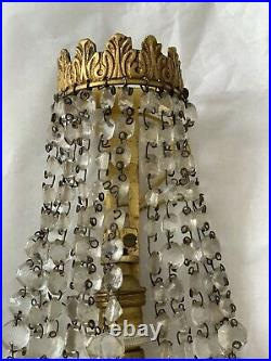 Antique Gilt Bronze Crystal Beaded French Chandelier Wall Sconces Pair Petite