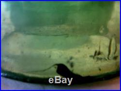 Antique Glass Insulator Star Yellow Green CD164 Black Carbon Junk Rocks Flaws