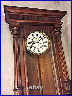 Antique Gustav Becker Vienna Regulator Wall Clock 2 Weights Runs Strikes 1924