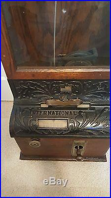 Antique Hallock Time Clock Detroit with card holders. Great Shape and working. K