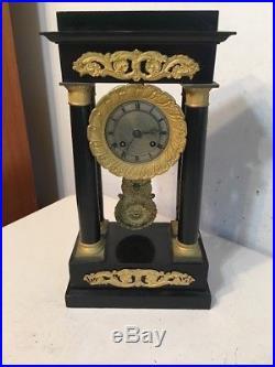 Antique Henri Marc French Empire Portico Mantle Clock