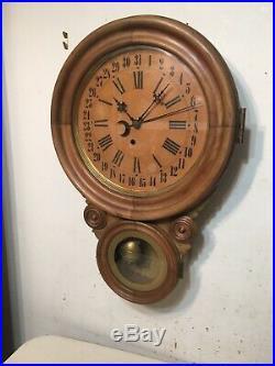 Antique Ingraham Figure 8 Ionic Calendar Wall Clock