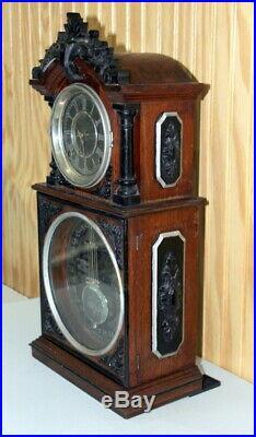 Antique Ithaca 3 1/2 Parlor Double Dial Calendar CLock. C 1880's