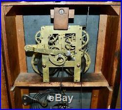 Antique Ithaca Double Dial Calendar Clock 8 Day Time & Strike Farmer No. 10