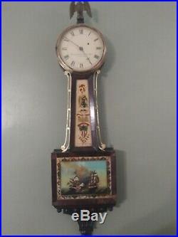 Antique Large Sawin And Dyar Weight Driven Banjo Wall Clock 1820' Rare No Reseve