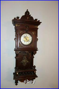 Antique Lenzkirch Balcony German Wall Clock with brass / bronze fittings