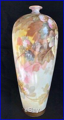 Antique Limoges France W Guerin & Co Large 14 Cabinet Vase Floral Hand Painted