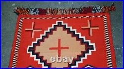 Antique Navajo Germantown Double Sunday Saddle Blanket / Rug
