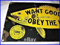 Antique Pa Us Porcelain Fishing Fish Commission Camp Hunt Gun Tool Hook Art Sign