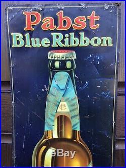 Antique Pabst Blue Ribbon Tin Sign Pre Prohibition 14x40 Not Porcelain Farm Gas