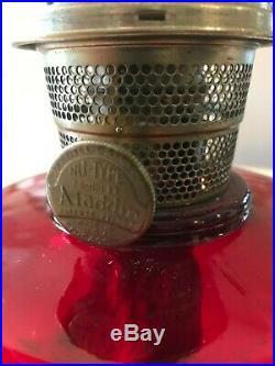 Antique Rare Aladdin Ruby Red Beehive Kerosene/Oil Lamp, Model B, Plus Chimney