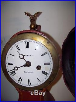 Antique Signed A. Harris & Co Tole painted Fusee wall clock