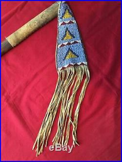 Antique Sioux Tribe Native American Pipe Tomahawk with Beaded Leather Drop