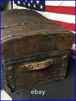 Antique Super Rare! Abraham Lincoln And Robert Todd Lincoln 1860 Leather Trunk