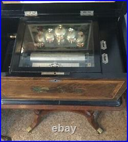 Antique Swiss 5-bell 8-song Cylinder Music Box with Stand by Karrer
