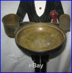 Antique USA Tobacco Cast Iron Black Butler Man Smoking Art Ashtray Stand Tray Ny