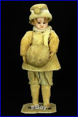 Antique Victorian German Wax and Cotton Batting Christmas Candy Container ca1880