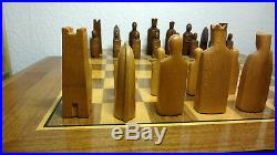 Antique Vintage ANRI wooden hand carved Elsinor Chess Set Game + Board
