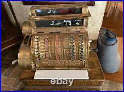 Antique Vintage Brass National Cash Register Model 452