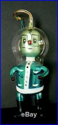 Antique Vintage De Carlini Italy Spaceman Astronaut Alien Glass Ornament
